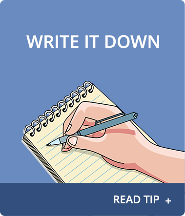 Anxiety About Sleep Tip 1: Write it down.