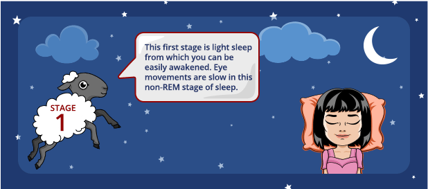 Stage 1 Sleep: Non-REM light sleep during which you can be easily awakened.